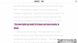 """Daily Readings & Thought for December 8th. """"FAITH BY ITSELF ... IS DEAD"""""""